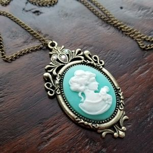 Long Cameo Necklace Vintage Style